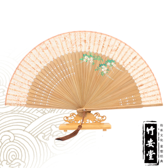Harga [Ann hall] elegant bamboo hand painted classical female silk fan folding fan chinese style gift fan dance fan characteristics