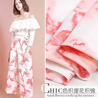 Harga Mou Ke 17 spring and summer white organza Jacquard fashion fabric peach and plum wind high-grade very including skinny bright side Brocade Fabric