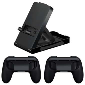 1 Pair ABS Abrasion Resistance Grip Handle for Nintendo Switch Joy-Con Controller + Adjustable Angle Foldable Stand Playstand Bracket for Nintendo Switch - intl