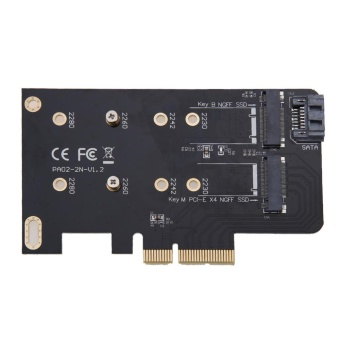 2 Slots Adapter Card of M key PCI-EX4 and B key for M.2 NGFF SSD -intl