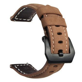 22mm Retro Crazy Horse Genuine Leather Band Metal Clasp Watch Strap - intl