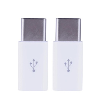2pcs Type-C Male to Micro USB Female Converter(White) - intl