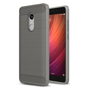 Carbon Fibre Brushed TPU Shell Case for Xiaomi Redmi Note 4 - Grey