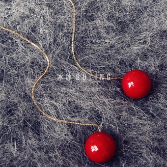 Christmas New Year red Pearl fashion wild simple Korean temperament long section of red beads ear wire tassel earrings