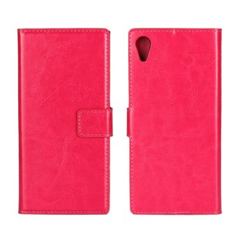 Crazy Horse Wallet Leather Stand Cover for Sony Xperia XA1 - Rose