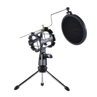 Detachable Desktop Microphone Tripod Stand Holder Bracket Supporter with Shock Mount Mic Holder & Double Dual