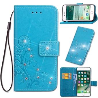 Diamante Flower Debossed Leather Flip Cover Case for Xiaomi Mi Max 2 - intl
