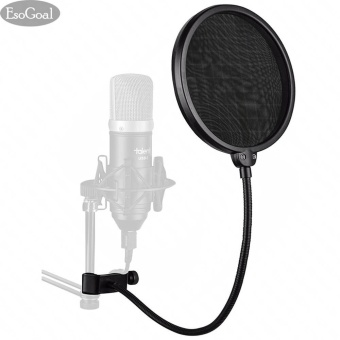 EsoGoal Studio Microphone Mic Round Shape Wind Pop Filter Mask Shield with Stand Clip Recording Vocals Home (Black) - intl