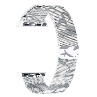 For Apple Watch 42mm Milanese Loop Magnetic Stainless Steel Watchband (Camouflage White) - intl