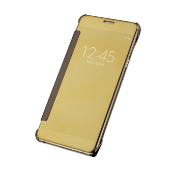 Hicase Mirror Smart Clear View Window Flip Case Cover For Samsung Galaxy Note 5 Gold - intl
