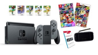 Harga Nintendo Switch with Gray Joy-Con Bundle (Mario Kart 8 Deluxe, Bomberman, Switch (PD) Hard Pouch Black, Gamewill Tempered Glass, Amiibo)