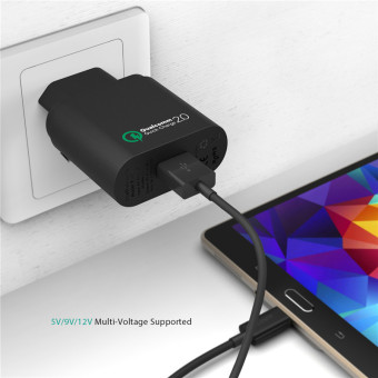 Harga Aukey Qualcomm Quick Charge 2.0 Wall Charger Black/White 18W EU/US Plug USB Charger Fast Charging For Xiaomi Sony Xperia HTC