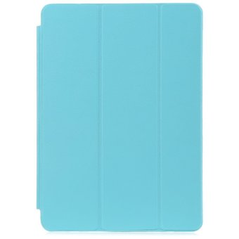 Harga PU Leather Smart Ultra Thin Stand Cover PC Back Case for iPad Air (Blue)