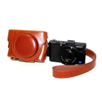 Harga PU Leather Camera Bag Case Cover Pouch For Sony RX100 RX100II RX100III RX100IV M1 M2 M3 M4 with Shoulder strap(Brown) - intl