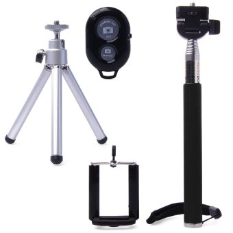 Harga XCS® DC494-SZ Self Timer Bluetooth Shutter with Extendable Holder Monopod (Silver + Black)