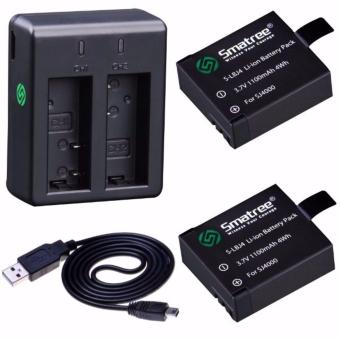 Smatree SJ4000A 1100mAh Replacement battery (2-Pack) + 2-Channel charger +