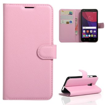 Harga Case For Alcatel OneTouch Pixi 4 5.0 OT5045X 4G PU Wallet Card Slots Magnetic Closure Flip Cover - Pink - intl