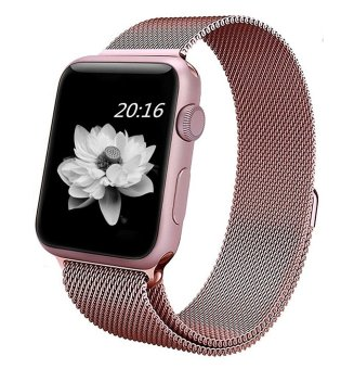 top4cus Milanese Magnetic Loop Stainless Steel Strap Watch Bands For Apple iWatch Series 1 and 2 -- 42MM(Rose Gold)