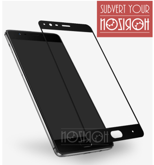 NOZIROH Oneplus 3T / Oneplus 3 Full Screen Protector Tempered Glass 2.5D Anti-Explosion (Color Black)