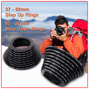 Harga 9x Step Up + 9x Step Down Filter Ring Stepping Adapter 37 - 82mm 82 - 37mm