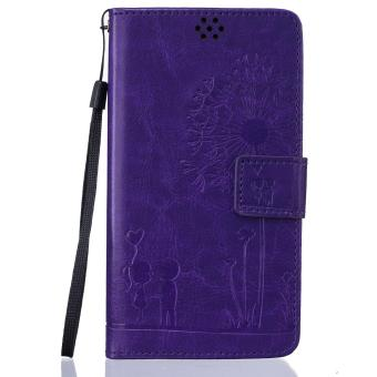 Harga Premium Magnetic Closure PU Leather Emboss Dandelion Wallet case Pattern with Card Slots Wrist Strap Flip Stand Cover for Sony Xperia Z3 - intl