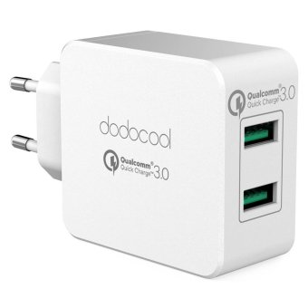 Harga dodocool 36W Quick Charge 3.0 2-Port USB Wall Charger Power Adapter with EU Plug White - intl(Black).