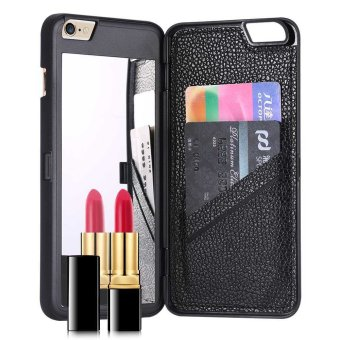 Harga Fashion Beauty Make-up Mirror Wallet Card Slot Phone Back Cover Case for iPhone 7 Plus