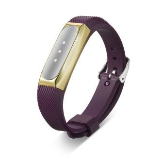 Stainless Steel Protective Case Cover Holder + Silicone Wrist Band Strap for Xiaomi Mi Band 1S /1A Smartband Fitness Tracker in Gold