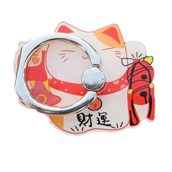 Harga Super meng cute lucky cat cartoon phone holder snap iring ring buckle female models universal adhesive ring 6
