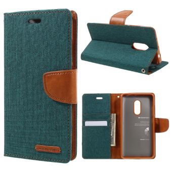 Harga MERCURY GOOSPERY Canvas Leather Stand Cover with Card Slots for Xiaomi Redmi Note 4 - Green - intl