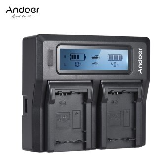 Harga Andoer NP-FW50 NPFW50 Dual Channel Digital Camera Charger w/ LCD Display for Sony �7 �7R �7sII �7II �6500 A6300 �7RII NEX Series Outdoorfree - intl