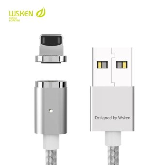(iphone) WSKEN Mini 2 Magnetic lightning Charger Magnet Cable With LED Status Display For ios iPhone 7 6 6S Plus SE Data Charging Adapter (Silver) - intl