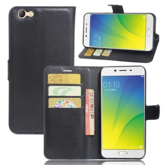 Harga Leather Flip Cover Phone Case Wallet Card Holder For OPPO A77 (Black) - intl