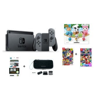Harga Nintendo Switch (Grey) + Super Bomberman R (U.S) & Mario Kart 8 Deluxe (PAL)+ 3 Random Amiibo Figurines + Pouch & Matte Screen Protector+ 1 Year Local Warranty