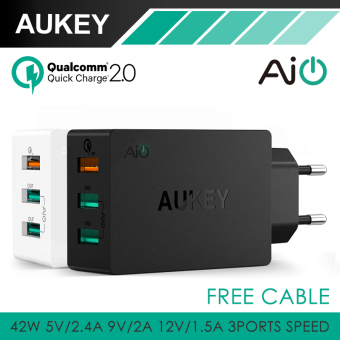 Harga AUKEY Quick Charge 2.0 Wall Charger 3 Port USB Smart Fast Turbo Mobile Charger(Black)