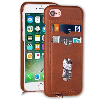 Harga PU Leather Hard PC Case for iPhone 7 - Brown - intl