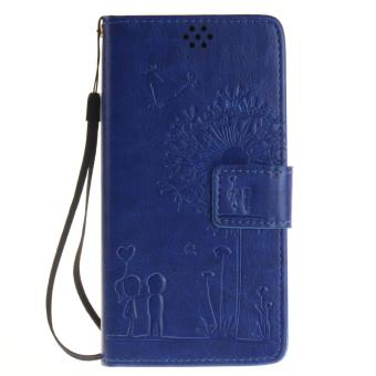 Harga Premium Magnetic Closure PU Leather Emboss Dandelion Wallet case Pattern with Card Slots Wrist Strap Flip Stand Cover for Sony Xperia X Performance - intl