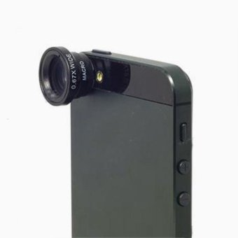 0.67X Wide Angle + Macro Lens Black for iPhone 5 4G 4S 4 i9300 Mobile Phone - intl