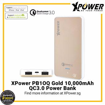 Harga XPower PB10Q Qualcomm Quick Charge 3.0 Powerbank (10000mAh) with Bi-directional quick charge Gold