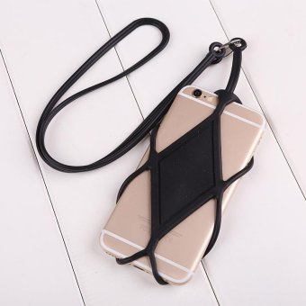 Harga Soft Silicone Lanyard Cover Holder Sling For Cell Phone iPhone Convenient - intl