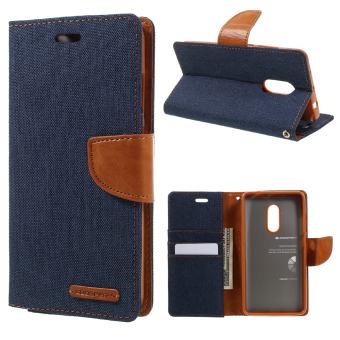 Harga MERCURY GOOSPERY Canvas Phone Leather Stand Case for Xiaomi Redmi Note 4 - Dark Blue - intl