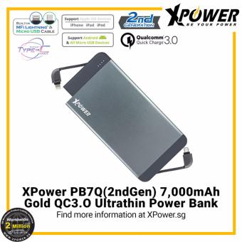 Harga XPower PB7Q2G 7000mAh Qualcomm Quick Charge 3.0 Powerbank (Grey)