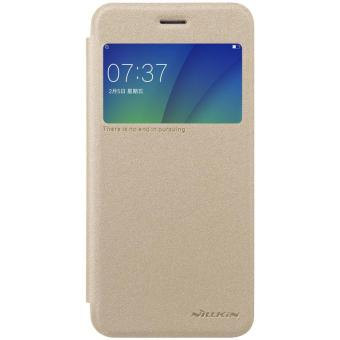 Harga OPPO A57 Case Original NILLKIN Sparkle super thin flip cover leather case for OPPO A57 with Retailed Package (Gold) - intl
