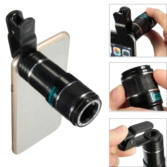 Harga Universal 12 X Zoom Optical Clip Mobile Phone Telescope Camera Lens For Smartphone Notebook For Iphone Samsung