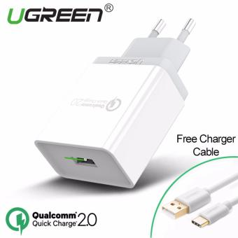Harga UGREEN Qualcomm Certified Quick Charge 2.0 18W USB Wall Charger with Free 1m Type-C Cable - White,EU Plug