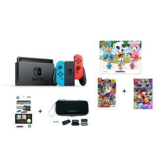 Harga Nintendo Switch (Neon) + Super Bomberman R (U.S) & Mario Kart 8 Deluxe (PAL) + 3 Random Amiibo Figurines + Pouch & Matte Screen Protector + 1 Year Local Warranty