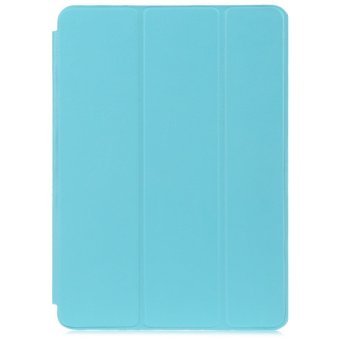 Harga PU Leather Smart Ultra Thin Stand Cover PC Back Case for iPad Air 2 (Blue)