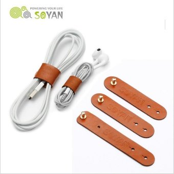 Harga SOYAN 3PCS/Lot PU Leather Cable Cord Wire Earphone Bobbin Winder Organizer - Light Brown - intl