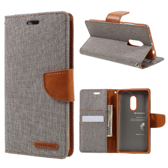 Harga MERCURY GOOSPERY Canvas Leather Wallet Cover for Xiaomi Redmi Note 4 - Grey - intl