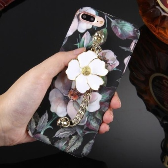 Harga For IPhone 7 Plus Water Decals Retro Oil Painting Camellia Pattern Chain Pendant PC Protective Case - intl